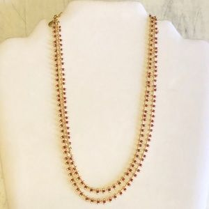 Madewell Gold/Red Beaded Double Strand Necklace